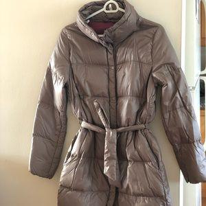 Gap Light Tan Belted Knee Length Puffer Coat